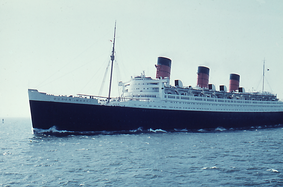 RMS Queen Mary 1 westward bound on the North Sea - 1959