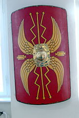 A reconstruction of a shield that would have been carried by a Roman Legionary.