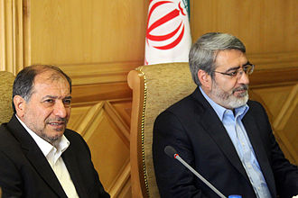 Ministry of Interior (Iran) - The current minister, Abdolreza Rahmani Fazli (right), and his predecessor, Mostafa Mohammad-Najjar