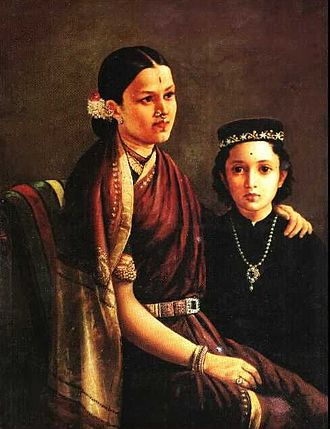 Raja Ravi Varma - Mrs. Ramanadha Rao and son