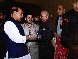 Rajnath Singh meeting Acharya Indu Prakash