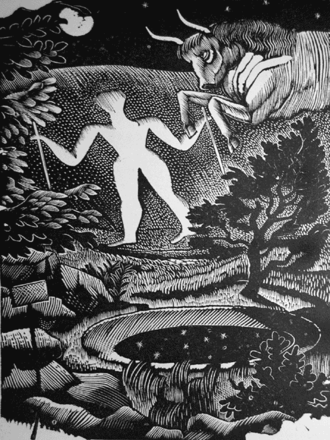 Great Bardfield Artists - May, woodcut of the Long Man of Wilmington by Eric Ravilious