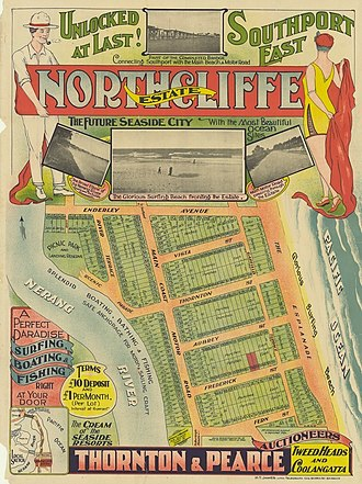 Surfers Paradise, Queensland - Real estate map of Northcliffe Estate, now the heart of Surfers Paradise, circa 1920s