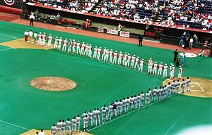 "Riverfront Stadium - The turf infield and dirt ""slide pits"" can be seen in this April 1995 photograph."