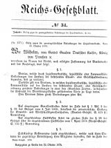 Reichsgesetzblatt with the law against the endangering efforts of the social democracy