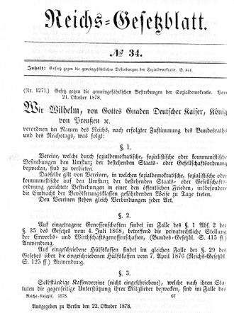 Anti-Socialist Laws - Official publication of the first Anti-Socialist Law, 1878