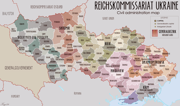 Map of the Reichskommissariat Ukraine following Operation Barbarossa - Ukrainian Auxiliary Police