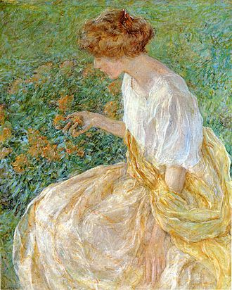 Robert Reid (American painter) - The Yellow Flower aka The Artist-s Wife in the Garden