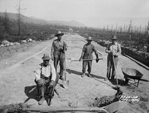 Great Depression in Canada - Relief Work repairing a highway