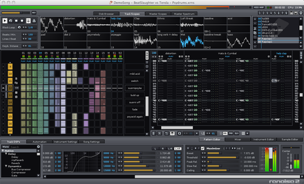 Renoise, a graphical Tracker sequencer with integrated sampler Renoise 2.6.png