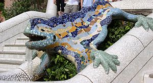 Trencadís - Dragon at the entrance of park Güell overlooking Barcelona.