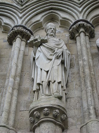 Richard Poore - Sculpture on the west front of Salisbury Cathedral of Richard Poore, holding a model of the Cathedral in his hand.