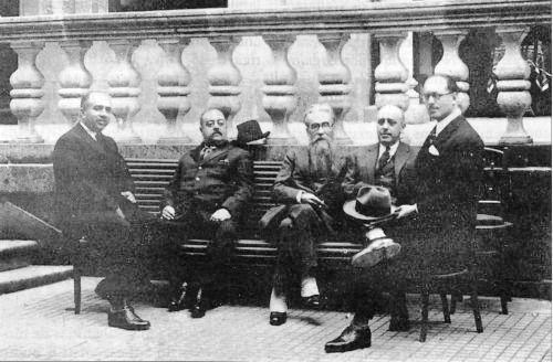 Riestra Calderón, Enrique Peinador, Valle-Inclán, Ramón Cabanillas e Victoriano García Martí