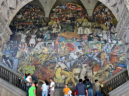 Diego Rivera's mural The History of Mexico at the National Palace in Mexico City RiveraMuralNationalPalace.jpg