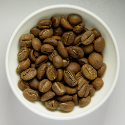 Roasted coffee beans in white bowl