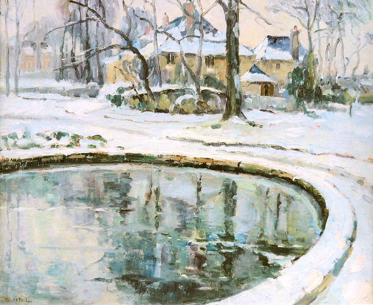 File robert antoine pinchon le bassin neige oil on canvas 50 x 60 wikimedia commons - Bassin naturel jardin rouen ...