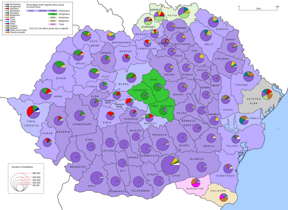 Ethnic map of the Kingdom of Romania in 1930 Romania 1930 ethnic map EN.png