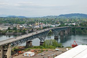 Ross Island Bridge - View of bridge from the southwest, from on board the Portland Aerial Tram
