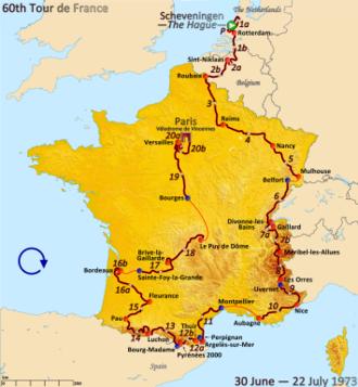 1973 Tour de France - Route of the 1973 Tour de France
