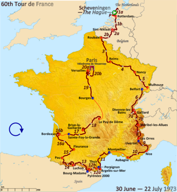Route of the 1973 Tour de France