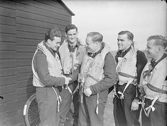 Paddy Finucane - Finucane (left) and Keith Truscott after a successful sortie, October 1941.