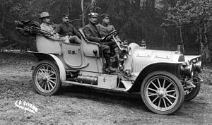 Brass Era car - A Royal Tourist model US Army vehicle, circa 1906. The vehicle was the conveyance of General Frederick Funston (leftmost figure in the back seat).