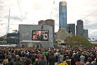 Stolen Generations - Kevin Rudd on screen in Federation Square, Melbourne, apologising to the stolen generations.