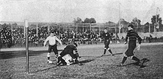 Rugby union at the Summer Olympics - A photograph of a rugby game between France and Germany at the 1900 Summer Olympics.