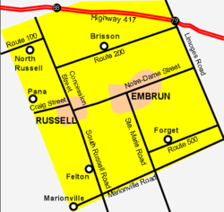 Map of Russell Township with Russell village on the left