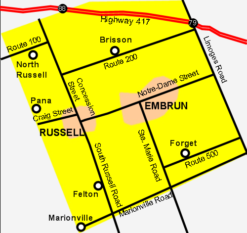 Map of Russell Township
