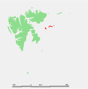 Kongsøya - Map of Svalbard, Kongsøya in red