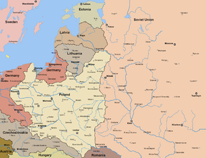 Polish–Romanian Alliance - Poland in 1922; northern areas of Romania visible to the south