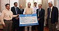 S.K. Sharma presenting a final dividend cheque of over Rs. 103.82 Crore to the Union Minister for Finance, Corporate Affairs and Defence, Shri Arun Jaitley, in New Delhi. The DGM, BEL, Mr. R.K. Sharma.jpg