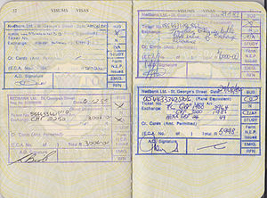 Foreign exchange controls - Four exchange control stamps in a South African passport from the mid-1980s allowing the passport holder to take a particular amount of currency out of the country.  Exchange controls such as these were imposed by the apartheid-era South African government to restrict the outflow of capital from the country.
