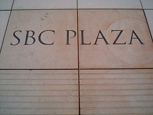 AT&T Plaza - Pavers engraved with the Plaza's former name, SBC Plaza