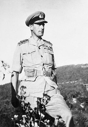 South East Asia Command - Lord Louis Mountbatten Supreme Allied Commander of the South East Asia Command from October 1943 through the disbandment of SEAC in 1946.  This photograph, taken in February 1944, is from his tour of the Arakan front, as part of the Burma Campaign