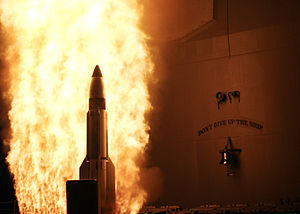 Space warfare - A SM-3 missile is launched from a U.S. ship to intercept a failing spy satellite