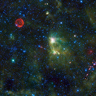 SN 1572 - The red circle visible in the upper left part of this WISE infrared image is the remnant of SN 1572.