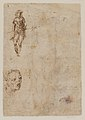 Saint Sebastian (recto); sketches of a male head and a standing figure in a short cape; a copy of the figure on the recto (verso) MET DP-13665-027.jpg