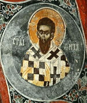 Saint Titus - Image: Saint Titus (Kosovo, 14th c. Pech Patriarch., S. Nicholas church)