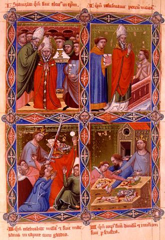 Stanislaus of Szczepanów - 1- Saint Stanislaus being ordained as bishop. 2- Saint Stanislaus resurrects Peter. 3-King Bolesław murders Saint Stanislaus. 4-Stanislaus' body is cut in pieces. Image from the Hungarian Kings' Anjou Legendarium of the 14th century.