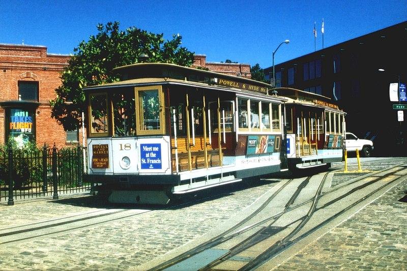 San Francisco cable car 18 at Beach and Hyde terminus, May 2001