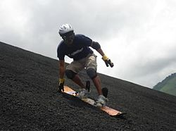 Sandboarding at the Cerro Negro volcano.