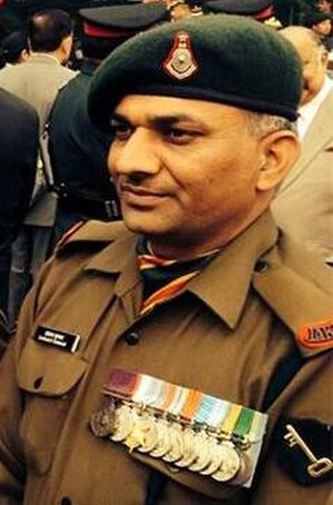 Sanjay Kumar (soldier) - then-Havildar Sanjay Kumar, wearing his PVC medal.