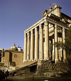Temple of Antoninus and Faustina - The pronaos at the eastern end of the Forum.
