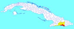 comune Santiago (rosso) entro Provincia Santiago (giallo) e Cuba