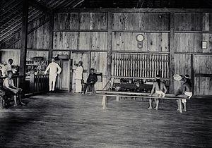 Marudi, Sarawak - Interior view of the Fort Hose in 1896
