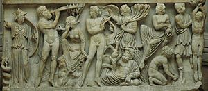 Aulos - The competition between Marsyas and Apollo on a Roman sarcophagus (290–300)