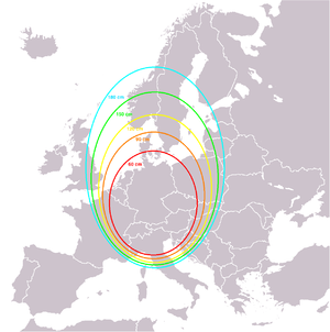 Footprint (satellite) -  An example of an elliptical footprint with a reception area of Germany, Austria and Switzerland.  The ellipses indicate the necessary antenna diameter for receiving in cm.