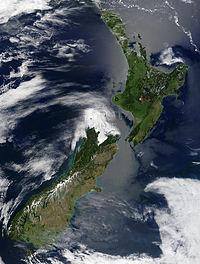 Δορυφορική εικόνα της Νέας Ζηλανδίας